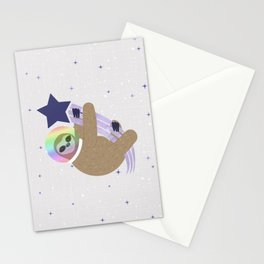 Sloth Astronaut on Shooting Star Stationery Cards