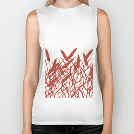 Stylized wheat ears on a white background. Biker Tank