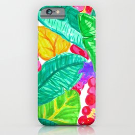 Illustrated Sea Grapes + Tropical Leaves iPhone Case