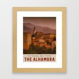 Alhambra Vintage Travel Poster Granada Spain Framed Art Print