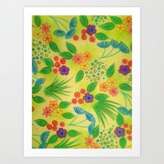 WILDFLOWER FANCY 3 - Cheerful Fresh Green Lovely Floral Garden Pattern Girly Feminine Trendy Flowers Art Print