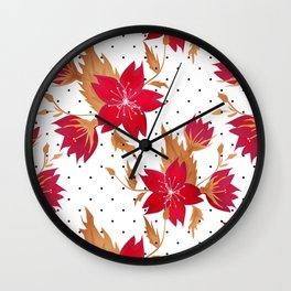 Floral seamless pattern with red flowers texture Wall Clock