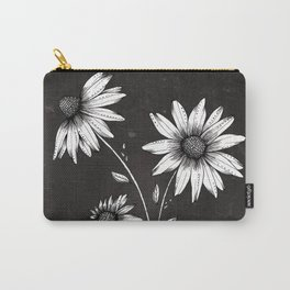 Wildflowers Ink Drawing | Black Background Carry-All Pouch