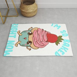 Cute & Funny I'm So Baked Right Now Cupcake Pun Rug