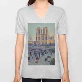 """Maximilien Luce """"The Quai Saint-Michel and Notre-Dame"""" Unisex V-Neck"""