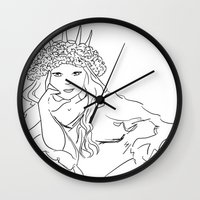 mucha Wall Clocks featuring Mucha Style by Crousticro