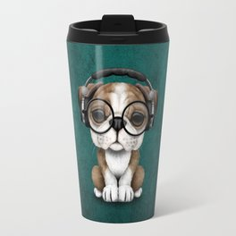 English Bulldog Puppy Dj Wearing Headphones and Glasses on Blue Travel Mug