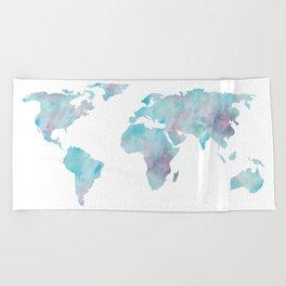 World Map Ocean Blue Beach Towel