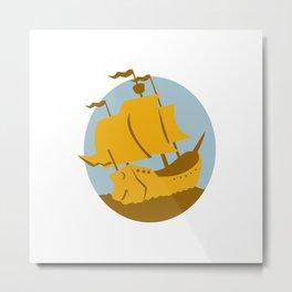 sailing ship galleon retro Metal Print