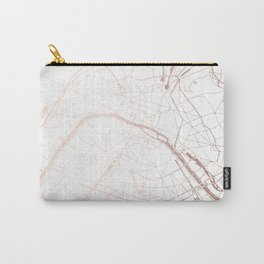 Paris France Minimal Street Map - Rose Gold Glitter Carry-All Pouch