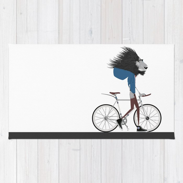 Hipster Lion and his Bicycle Rug