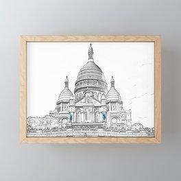 Sacre Coeur Basilica on Montmartre hill - Paris Framed Mini Art Print