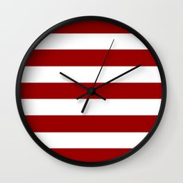 Crimson red - solid color - white stripes pattern Wall Clock