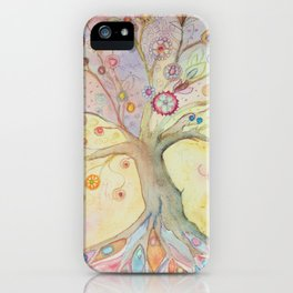 Whimsical tree of life with pastel colors iPhone Case