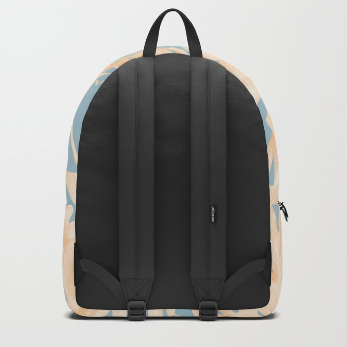 Island Vacation Hibiscus Palm Coral Sky Blue Backpack