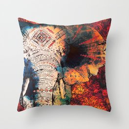 Indian Sketched Elephant Red Orange Asian Bohemian Hippie Elephants Art Throw Pillow