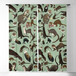 Otters of the World pattern Blackout Curtain