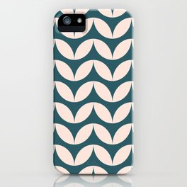Geometric Leaf Shapes in Teal and Blush iPhone Case