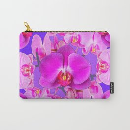 Purple & Fuchsia Pink Butterfly Orchids On Purple Art Carry-All Pouch