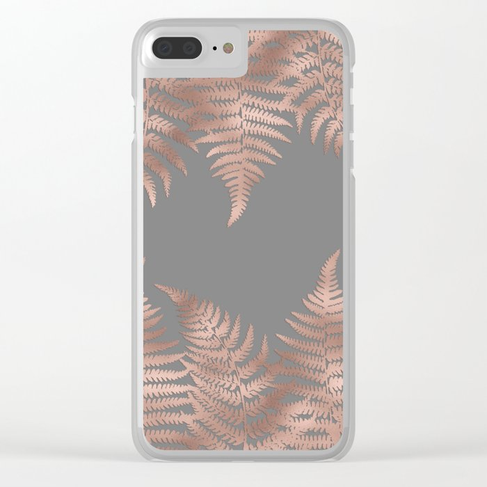 Rosegold pink metal fern leaves on grey background Clear iPhone Case