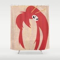 gurren lagann Shower Curtains featuring Minimalist Yoko by 5eth