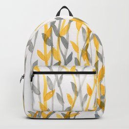 Leaves - gold and grey on natural paper Backpack