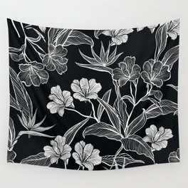 Black and White Flower Pattern Wall Tapestry
