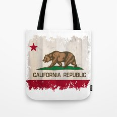 California Republic state flag - distressed edges on spruce planks Tote Bag