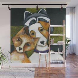 Dog Fox Raccoon Forest Friends Jack Russell Terrier Original art by Deb Harvey Wall Mural
