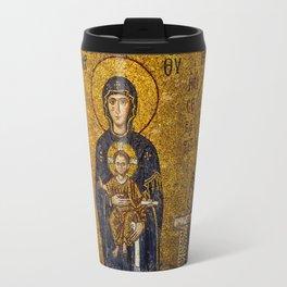 Mosaic Mary and Jesus Travel Mug