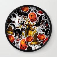 saga Wall Clocks featuring Halloween Spooky Cartoon Saga by BluedarkArt