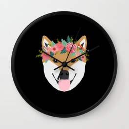 Shiba Inu floral crown dog with flowers pet art pure breed shiba inus Wall Clock