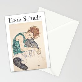 Egon Schiele [] Seated woman with legs drawn up Stationery Cards