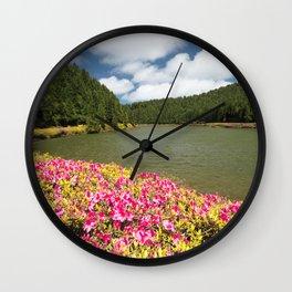 Azaleas and lake in Azores Wall Clock