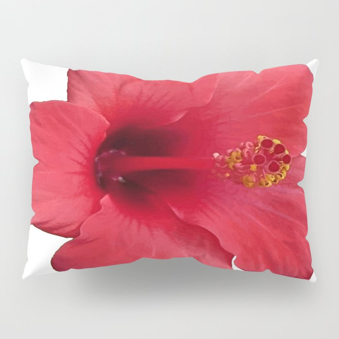Stunning Red Hibiscus Flower Pillow Sham
