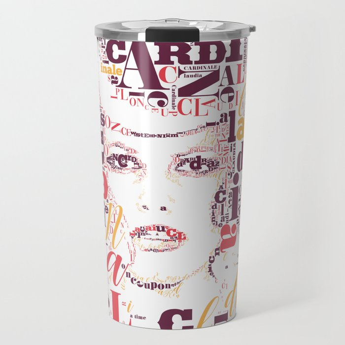 Typographic image Claudia Cardinale once upon a time in the west color Travel Mug