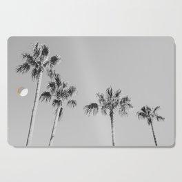 Black Palms // Monotone Gray Beach Photography Vintage Palm Tree Surfer Vibes Home Decor Cutting Board