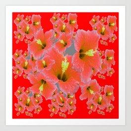 RED MODERN ART CORAL PINK HIBISCUS GARDEN ART Art Print