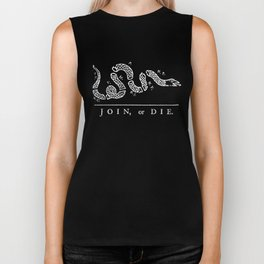 Join or Die in Black and White Biker Tank