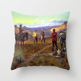 """""""Whiskey Smugglers"""" by Charles M Russell Throw Pillow"""