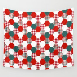 Christmas quilt red and green cute gifts home decor for the holidays Wall Tapestry
