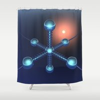technology Shower Curtains featuring Technology In Space by Phil Perkins
