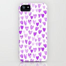 Watercolor Hearts purple pantone love pattern design minimal modern valentines day iPhone Case