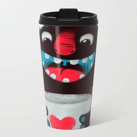 Demon with a cup of coffee (contrast) Metal Travel Mug