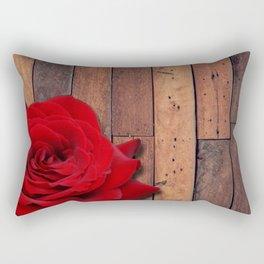 Red Rose & Wooden Background Rectangular Pillow