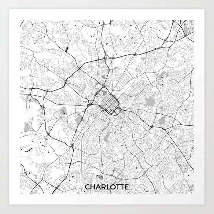 Charlotte Map Gray Art Print