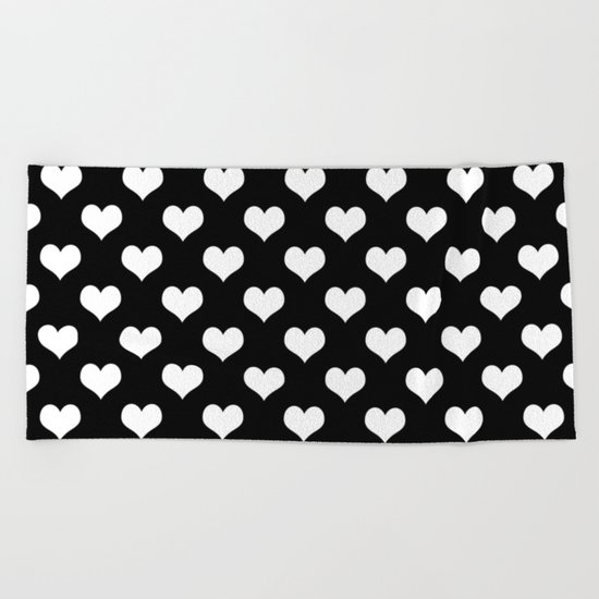 Black White Hearts Beach Towel