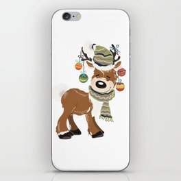Christmas deer, with baubles in horns. Pretty childish design iPhone Skin