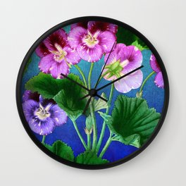 Pansies on Blue Wall Clock