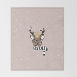 Holiday Deer Illustration Throw Blanket